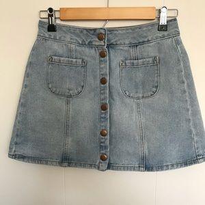 Brandy Melville denim skirt snap front light wash
